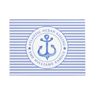 Tapete Azuis marinhos náuticos da âncora listrados