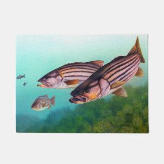 Tapete Baixo listrado dos peixes da natação