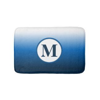 Tapete De Banheiro Monograma azul chique do inclinação de Ombre do