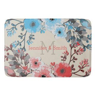 Tapete De Banheiro Monograma elegante floral #26 da aguarela do