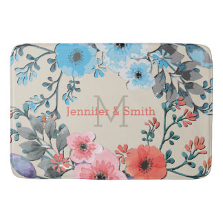 Tapete De Banheiro Monograma elegante floral #4 da aguarela do