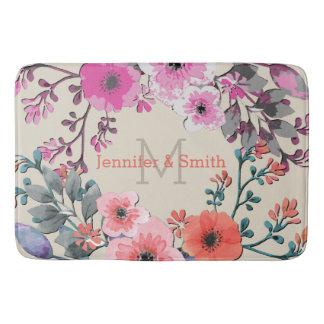 Tapete De Banheiro Monograma elegante floral #6 da aguarela do