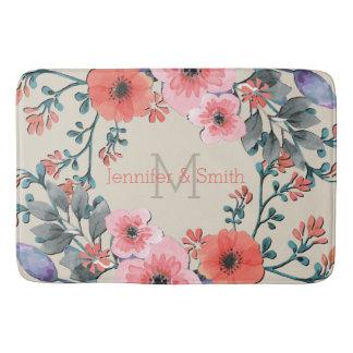 Tapete De Banheiro Monograma elegante floral da aguarela do vintage