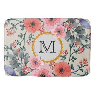 Tapete De Banheiro Monograma floral #28 da aguarela do vintage