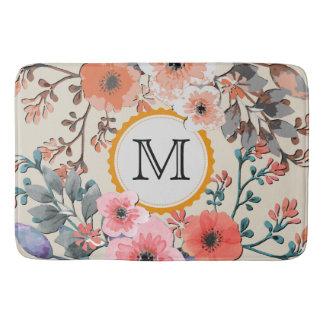 Tapete De Banheiro Monograma floral #29 da aguarela do vintage