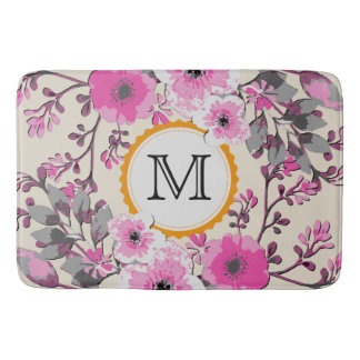 Tapete De Banheiro Monograma floral da aguarela do vintage