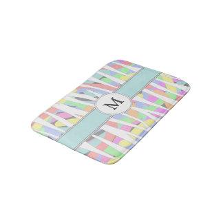 Tapete De Banheiro Monograma Pastel do costume do impressão da zebra