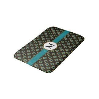 Tapete De Banheiro Monograma preto do costume do impressão do pavão
