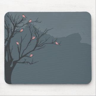 Tapete do rato da paisagem (árvore, pássaros) mouse pad