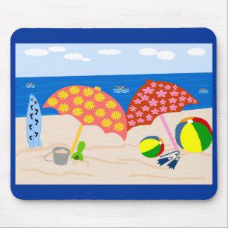 Tapete do rato do tempo da praia mouse pad
