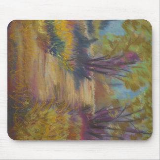Tapete do rato Pastel da paisagem - ouro, roxo, Mouse Pad