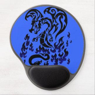 Tapete do rato tribal do dragão azul do fogo mouse pad em gel