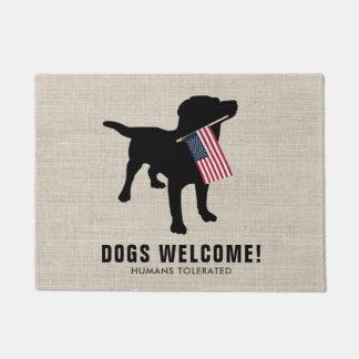Tapete Esteira bem-vinda do amante preto engraçado do cão