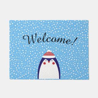 Tapete Esteira de porta adorável da boa vinda do pinguim