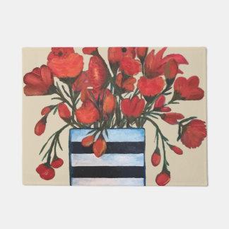 Tapete Flores vermelhas com belas artes listradas do vaso