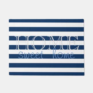 Tapete Listras de azuis marinhos modernas, casa do doce