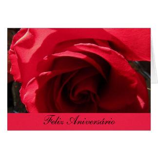 Tarjeta Feliz Aniversário - Rosa Roja Cartão Comemorativo