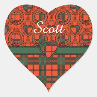 Tartan do Scottish da xadrez do clã de Scott Adesivo Coração