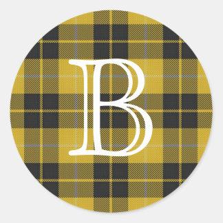 Tartan escocês de Barclay do clã com monograma Adesivo