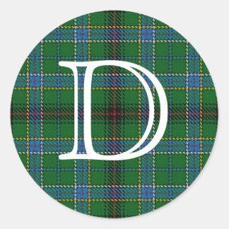 Tartan escocês de Duncan do clã com monograma Adesivo