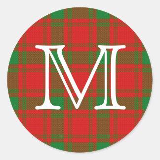 Tartan escocês de MacQuarrie do clã com monograma Adesivo