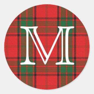Tartan escocês de Maxwell do clã com monograma Adesivo