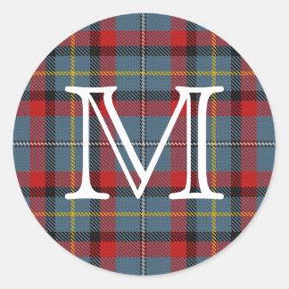Tartan irlandês de MacNamara do clã com monograma Adesivo