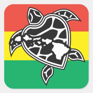 Tartaruga da reggae de Havaí Adesivo Quadrado