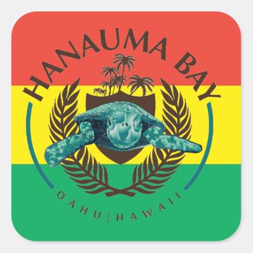 Tartaruga da reggae de Havaí Adesivo Em Forma Quadrada