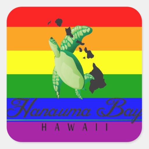 Tartaruga da reggae do arco-íris de Havaí Adesivo Em Forma Quadrada