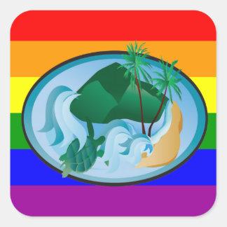 Tartaruga da reggae dos arcos-íris de Havaí Adesivo Quadrado