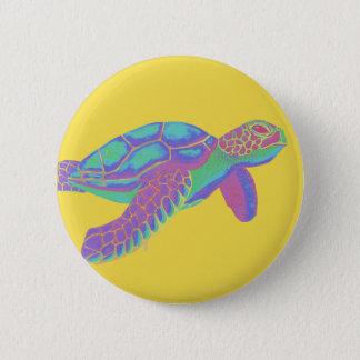 Tartaruga de mar colorida com fundo amarelo bóton redondo 5.08cm