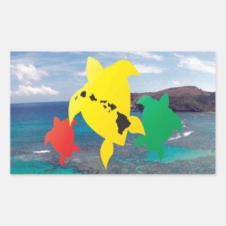 Tartarugas da reggae de Havaí Adesivo Retangular