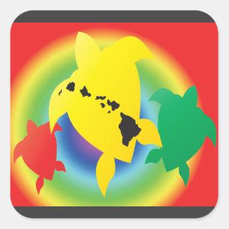 Tartarugas da reggae de Havaí Adesivo Quadrado