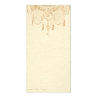 Tassles em artigos de papelaria do ouro cartao com fotos