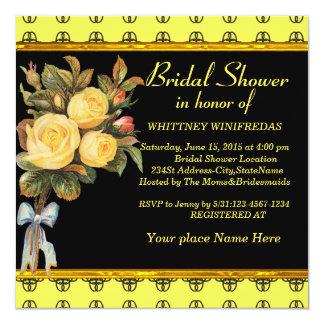 Tastefully rosa amarelo do chá de panela convite quadrado 13.35 x 13.35cm