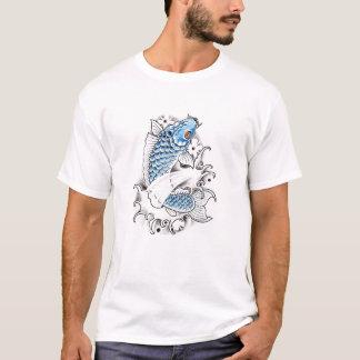 Tatuagem azul japonês oriental legal dos peixes da tshirt