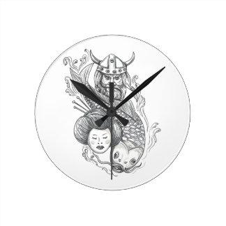 Tatuagem da cabeça da gueixa da carpa de Viking Relógio Redondo
