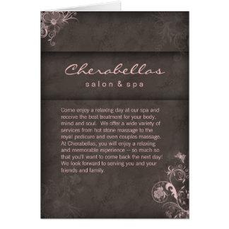 Taupe do rosa do folheto dos termas do salão de be cartão comemorativo