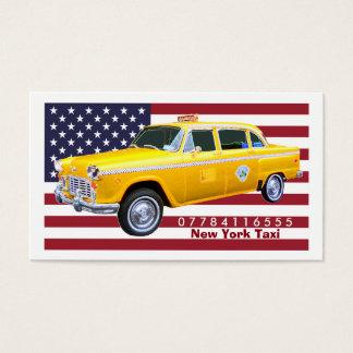 Táxi de táxi do amarelo da bandeira americana cartão de visita