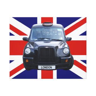 Táxi de táxi preto de Londres Impressão De Canvas Envolvida