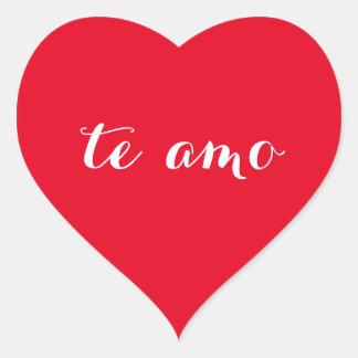 Te amo eu te amo na etiqueta vermelha espanhola do