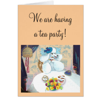 Tea party branco da caniche cartão comemorativo