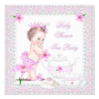 Tea party da menina do chá de fraldas da princesa convite quadrado 13.35 x 13.35cm
