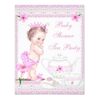 Tea party da princesa Cor-de-rosa da menina do chá Convite 10.79 X 13.97cm