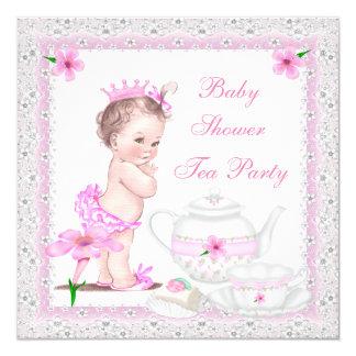Tea party da princesa Cor-de-rosa da menina do chá Convite Quadrado 13.35 X 13.35cm