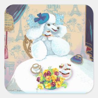 Tea party do cupcake da caniche adesivo quadrado