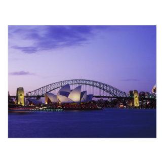 Teatro da ópera de Sydney e porto, sul novo 2 Cartão Postal