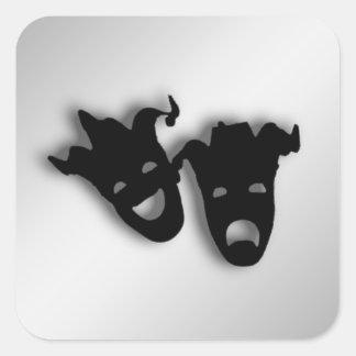 Teatro das máscaras da comédia e da tragédia adesivo quadrado