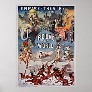 Teatro do império do vintage em volta do mundo poster